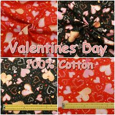 Valentines Day Love Hearts Red Pink 100% Cotton Patchwork Craft Fabric