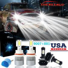 9007 Led Headlight + 881 Fog Light Bulbs Kit 6000K for Dodge Dakota 2001-2004(Fits: Neon)