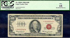 FR-1550* - 1966 $100 US Note (( 00000042 STAR )) PCGS Fine 15 -- 2 Digit STAR