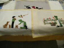 Completed Cross Stitch Lot - Three Completed w/Amish People in Scenes