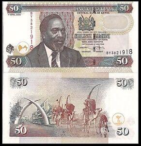 Kenya P41a, 50 Shillings Kenyata / Mobasa Tusks Mnmt, camel caravan UNC see UV