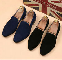 Men's Dress Business Slip On Pointed Swede Leather Casual Formal Loafer Shoes