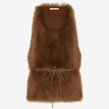 Helmut Lang Shearling Fur Top Vest in Cinnamon Size Small S