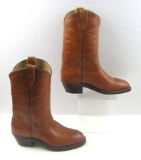 Men's USAS Brown Leather Western Country Cowboy Boots Size: 7 EE *EXTRA WIDE*