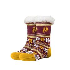 Washington Redskins Women's Fair Aisle Logo Footy Slippers Size 6-10 Non Skid