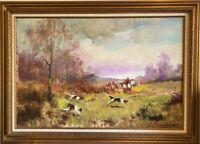 Henri Joseph Pauwels Original Fox Hunt Impressionist Oil Painting Signed 1950s.