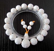 10mm Tridacna Shell Lotus Flower Beads Tibet Buddhist Prayer Bracelet Mala