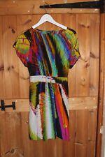 Warehouse 100% Silk Bright Print Dress Ladies size 12 Summer wedding holiday
