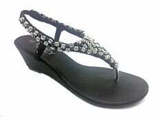 Black Wedge Diamante Toe Post Sandals UK5 EU38 JS11 77
