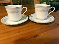 Fine Porcelain China Christine Pattern Set of 2 Coffee Cups & Saucers