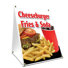 A-frame Sidewalk Sign Cheeseburger Fries Soda Double Sided Graphics