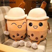 Cartoon Milk Tea Shaped Pillow Plush Toys Stuffed Soft Back Cushion Food Gifts
