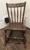 Antique Hitchcock Style Hand Painted Petite Wooden Rocker- Beautiful