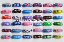 Wholesale Bulk 10Pcs Flower FIMO Polymer Clay Ring Fashion Jewelry 17-19mm