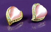 18K Gold Filled Distinctive Italian Pink Mother of Pearl Heart 18ct GF Earrings