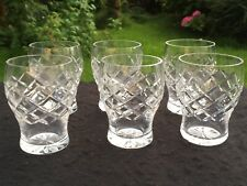 vintage cut crystal glass tumbler / tot / cordial glasses matching set x 6