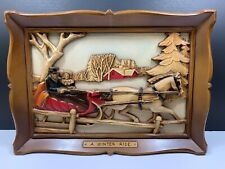 Mid Century Christmas Sleigh Ride Carved Cut-Out 3-D Framed Picture Syroco Inc