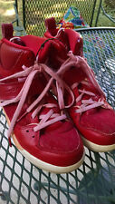 Jordan red pink high top girl leather size 2 Flight 45 basketball shoes
