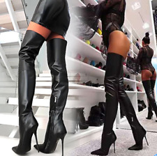 Sexy Lady Leather Over Knee Thigh Boots Nightclub Dance High Heel Stiletto Chic