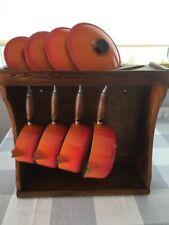 Le Creuset Orange Cast Iron 4 Pan Set of Saucepans With Wood Display Rack