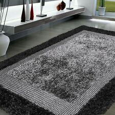 "5' x 7'6"" Handmade Modern Shag Area rug Gray Black contemporary"