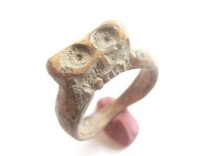 VIKING ERA Bone ***God LOKI head?!?*** RING > ancient Viking relic