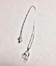 """Sterling Silver Pearl & Diamond Pendant Necklace Chain 9"""" or 23 CM"""