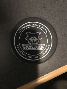 FEDERAL HOCKEY LEAGUE FHL Watertown Wolves Official Hockey Puck