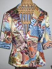 ALBERTO MAKALI 100% SILK MULTI-COLORED PRINT JACKET LINED SIZE 8