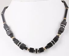 Beaded Necklace Costume 4442B Fashion Goldtone Black Silvertone