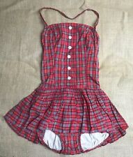 Swimsuit / Bathing Suit: Red Plaid Woman's Ruffled Skirt with Halter