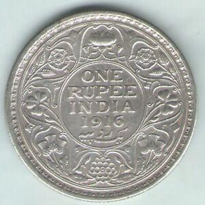 BRITISH INDIA -1916 - GEORGE V ONE RUPEE SILVER COIN NICE GRADE EX-RARE DATE