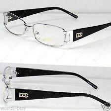 New DG Clear Lens Frame Glasses Rectangular Fashion Mens Womens Silver Designer