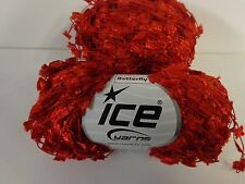 Ice yarn butterfly Bright red in color  Made in Turkey Crochet Knit