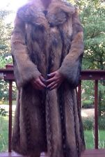 Women's Real Fur Raccoon/Coyote/Fox Long Coat Gorgeous Colors Warm M/L