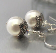 STERLING SILVER PEARL EARRINGS AUSTRIAN CRYSTAL DANGLE drop Dainty Hawaiibeads