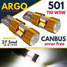 501 LED T10 CAR SIDE LIGHT BULBS ERROR FREE CANBUS 27 SMD XENON HID WHITE 12V