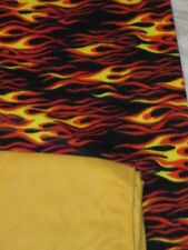 "Fleece Fabric Fire Flames 2 Yd 60"" Wide+Solid Gold Contrast 1.5 Yd Total 3.5 Yd."