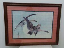 VTG Ohara Koson Japanese Woodblock Print Two Geese In Flight Full Moon Framed