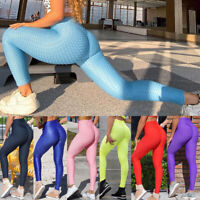 Women High Waist Anti Cellulite Leggings Yoga Pants Ruched Push Up Sports Gym A9