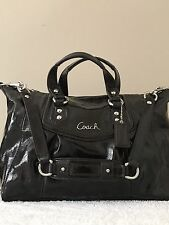 Coach Ashley Patent Leather Satchel Dark Brown Shoulder Purse Bag F20460 Euc~