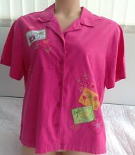 White Stag Pink Holiday Shirt Floral Embroidery Size XL 16 - 18 Cotton
