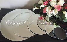 "12 x   30CM  /  12"" ROUND MIRROR PLATE WEDDING TABLE CENTERPIECE BEVELLED EDGE"
