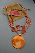 Canyon Sky Southwest Inspiration Necklace Coral Orange Real Shell New/Tags 16-18