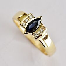 NATURAL MARQUIS SAPPHIRE RING GENUINE DIAMONDS 9K 375 GOLD SIZE O GIFT BOXED NEW