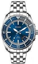 Pulsar Men's Blue Silver Tone Stainless Steel Watch VJ42- X124 Water Resistant