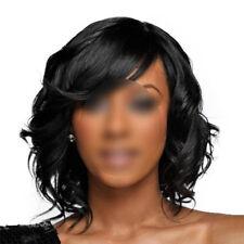 Fashion Women Medium Long Wavy Curly Black Hair Natural Full Wigs With Bangs
