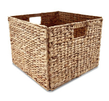 Woven Square Storage Cube Wicker Basket Container Foldable Stackable with Handle