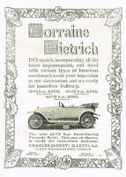 1912 Original Antique Lorraine Dietrich 1913 Torpedo Car Photo Print Ad