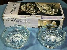 Pair of Crystal Candle Holders - Nib